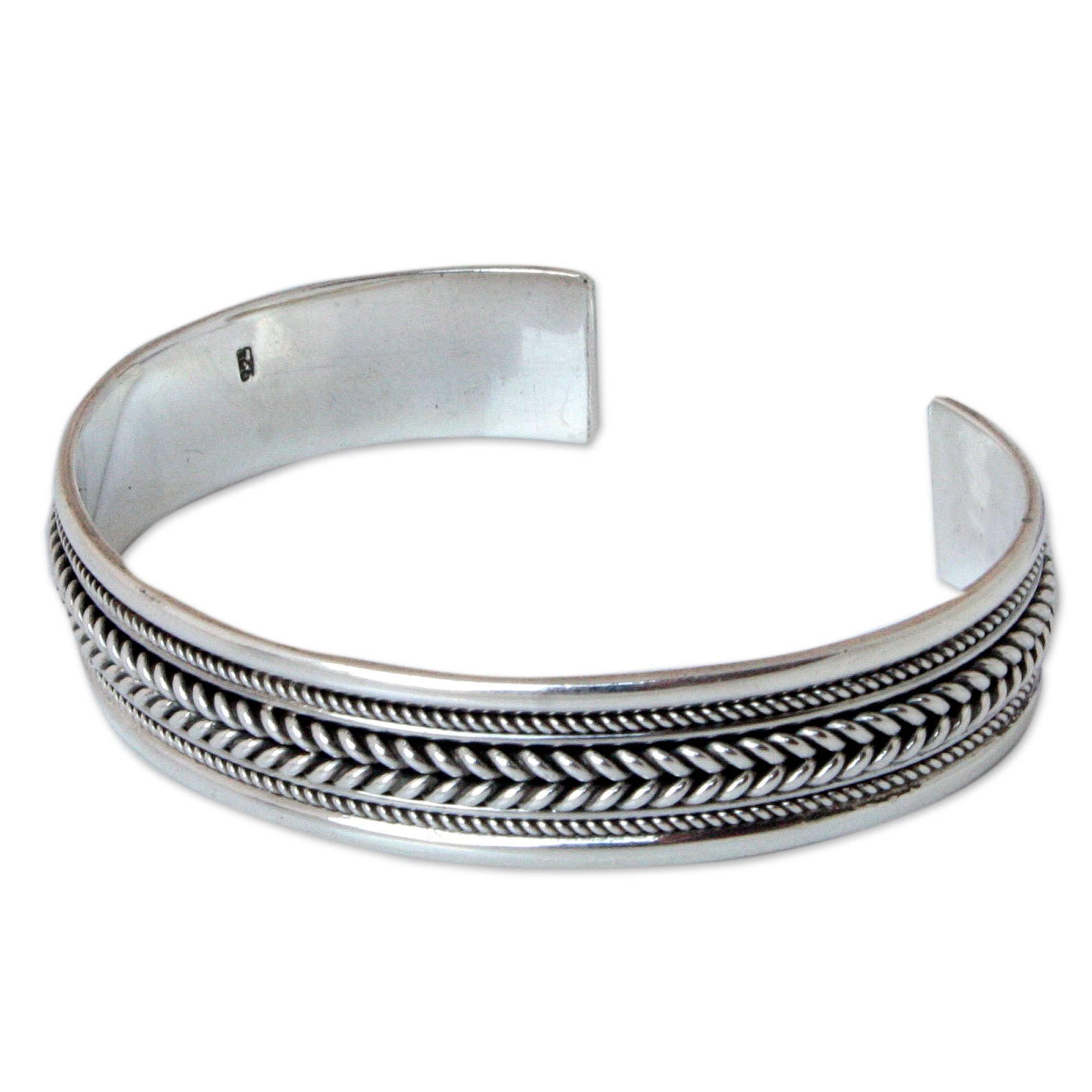 NOVICA .925 Sterling Silver Braid Cuff Bracelet, 6.0'', Lanna Illusions'