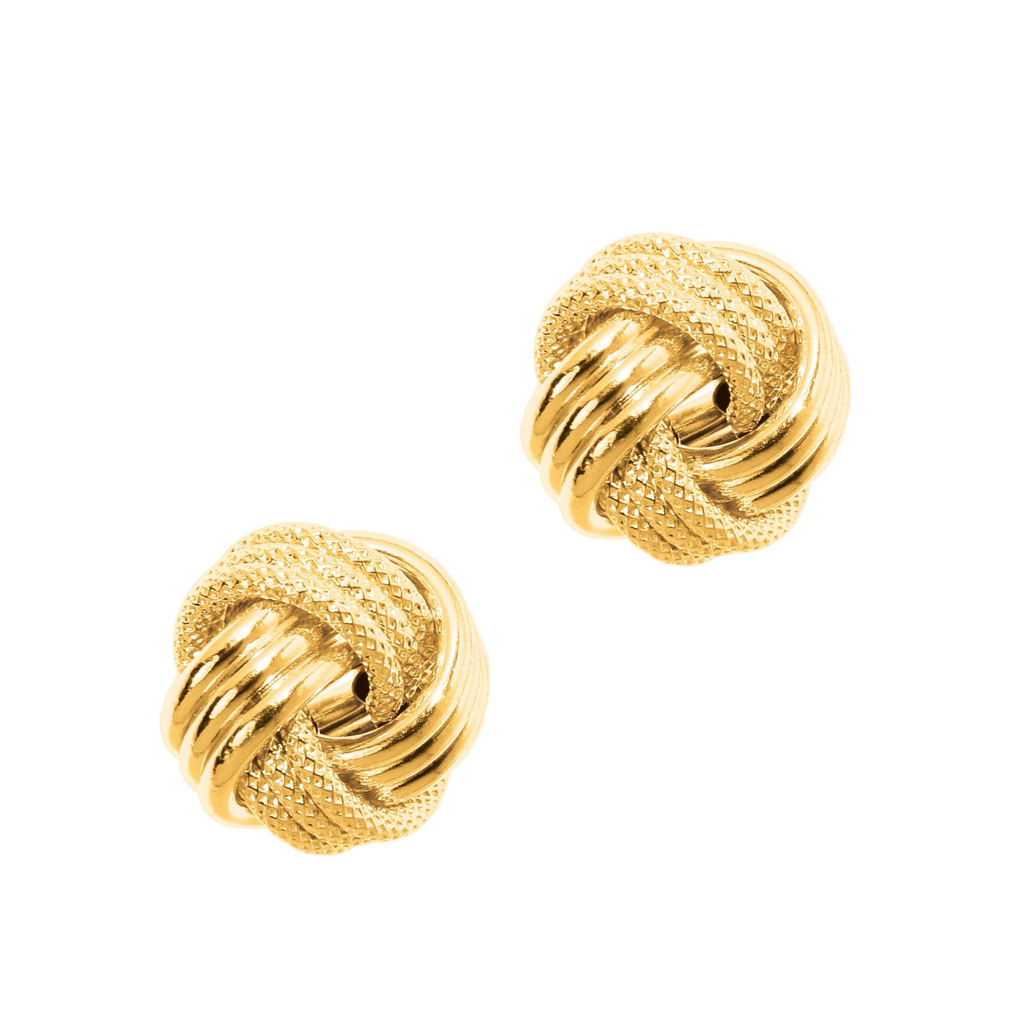 JewelStop 14k Yellow Gold Love Knot Earrings -12 mm