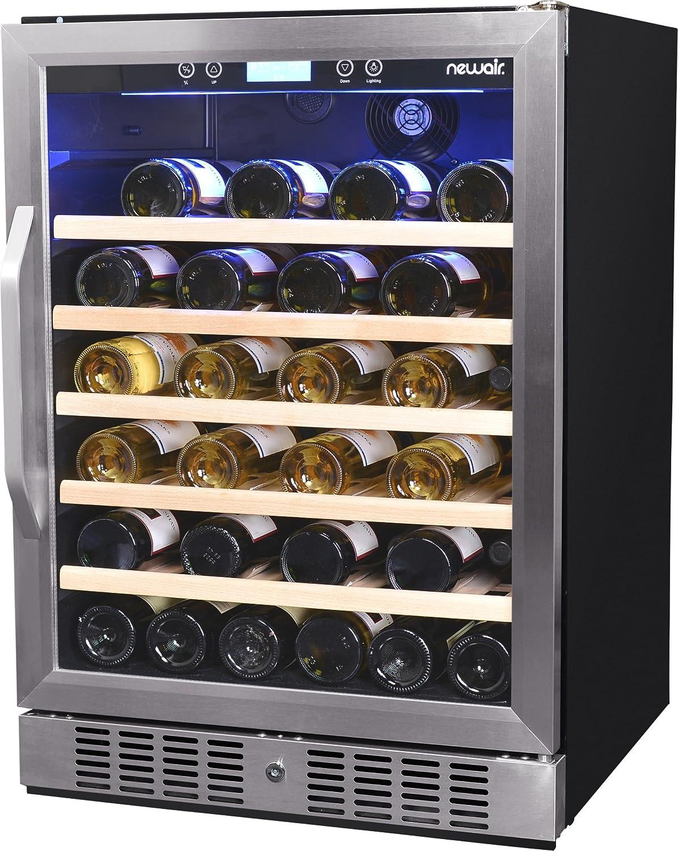 NewAir AWR-520SB 52 Bottle Built in Compressor Wine Cooler, Stainless Steel & Black