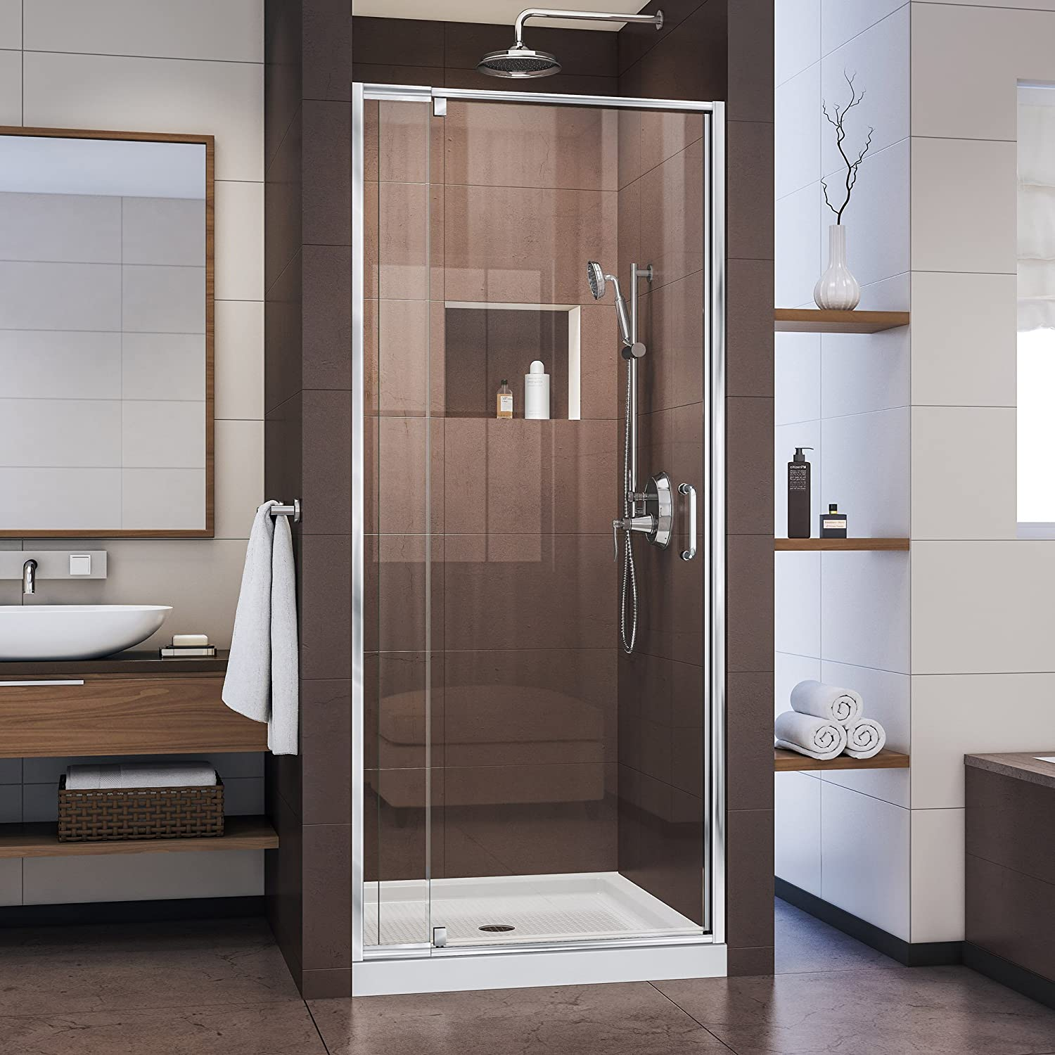 DreamLine Flex 32-36 W x 72 H Inch Semi-Frameless Pivot Shower Door, Chrome