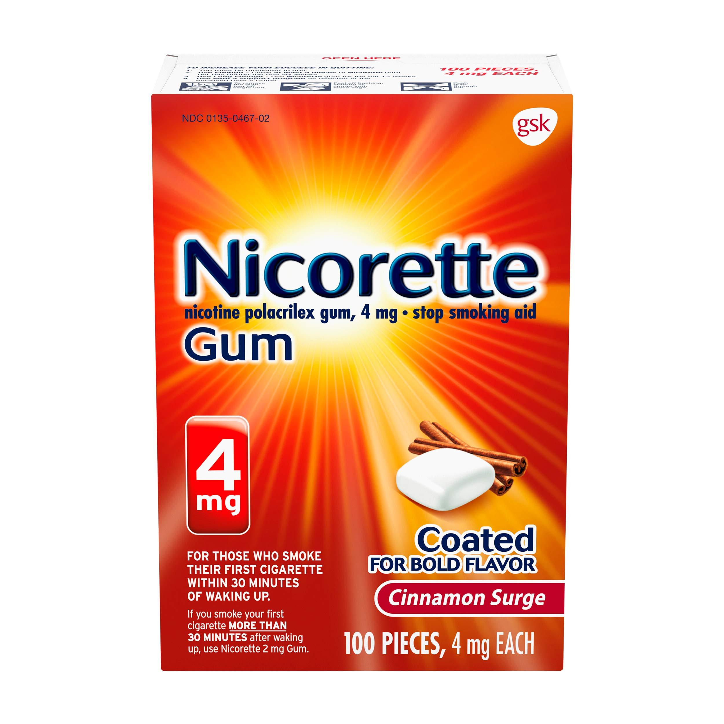 Nicorette Nicotine Gum 4 Milligram Stop Smoking Aid, Red, Cinnamon Surge, 100 Count