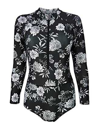 a89244e12ca52 Futurino Women's Long Sleeve Tropical Rainforest Printing Sporty Surfing One  Piece Swimsuit