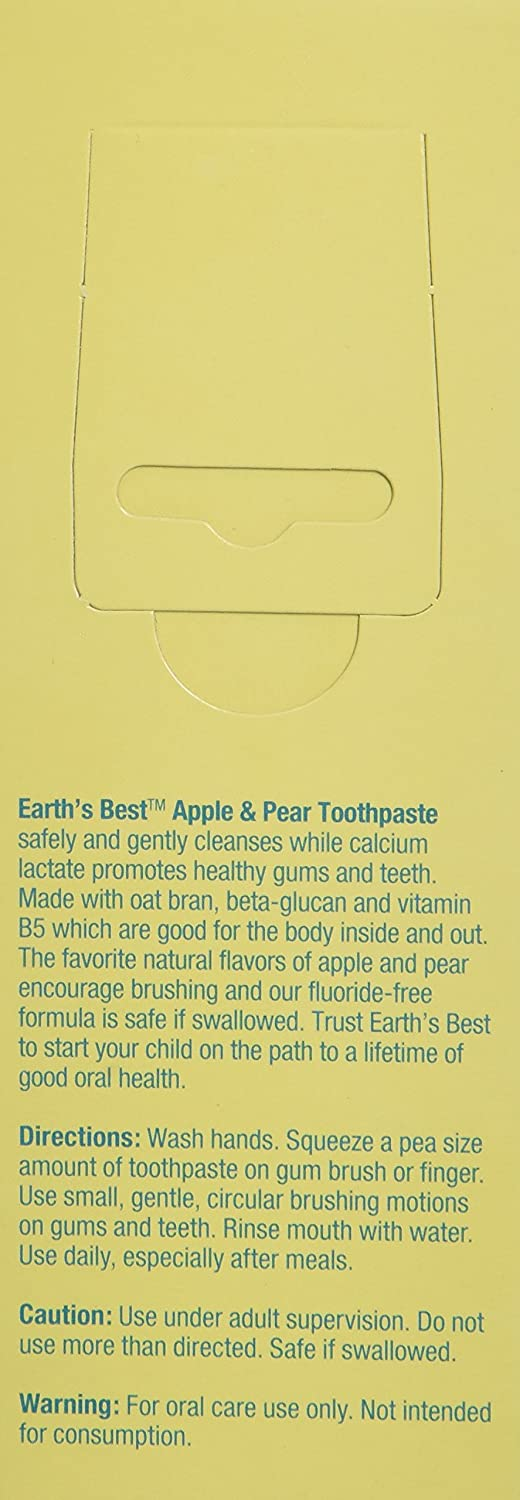 Earth's Best Toothpaste Apple & Pear, 1.6 Ounce Earth's Best 078522015321