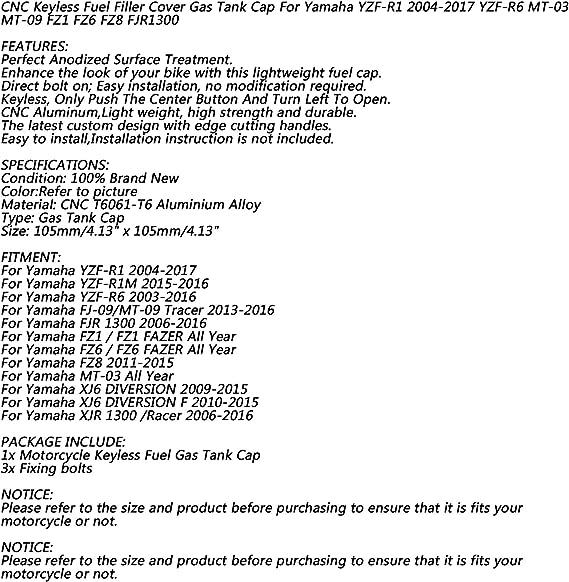 Artudatch Bouchon de r/éservoir de carburant pour moto Yamaha YZF-R1 2004-2017 YZF-R6 MT-03 MT-09 FZ1 FZ6 FZ8 FJR1300