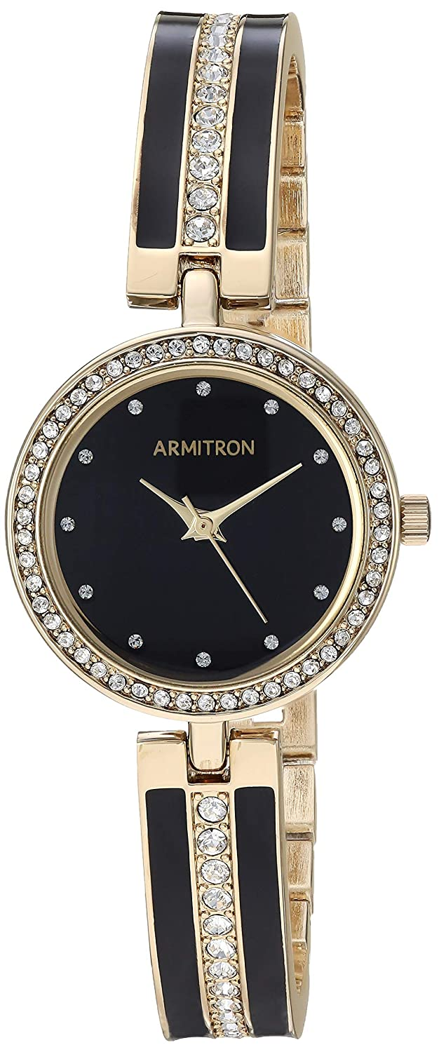 Armitron Women s 75 5608BKGP Swarovski Crystal Accented Gold-Tone and Black Bangle Watch