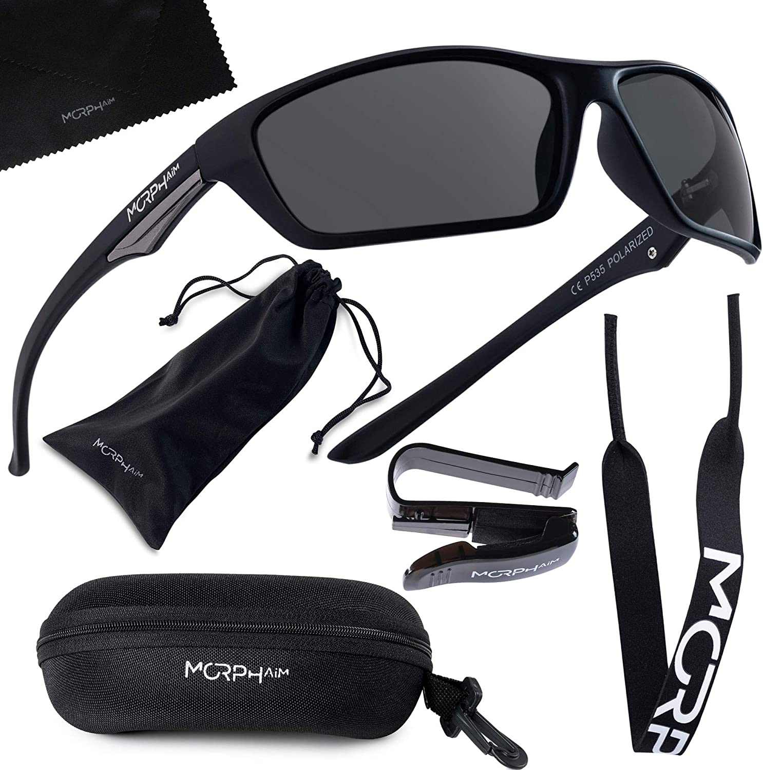 Polarized Sports Sunglasses for Men and Women – UV400 Protective and Glare Blocking – w. Bundle