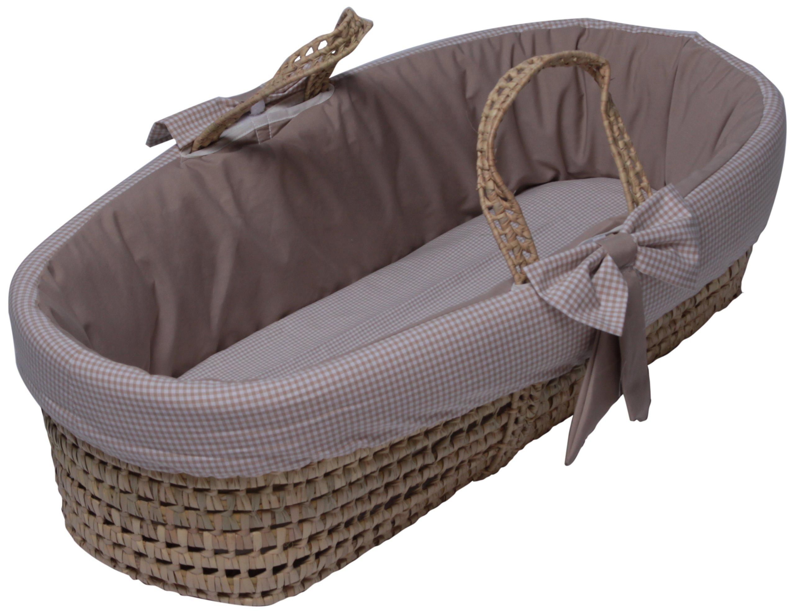 Baby Doll Bedding Gingham Moses Basket, Khaki by BabyDoll Bedding