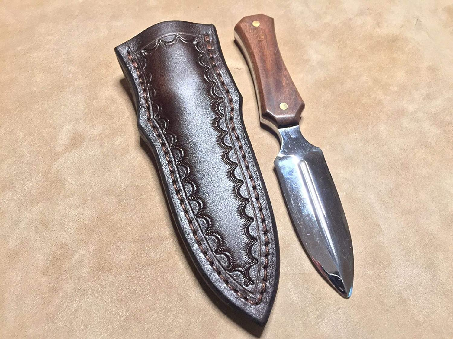 Custom Leather Sheath w//belt clip for Boot Dagger SOG Pentagon