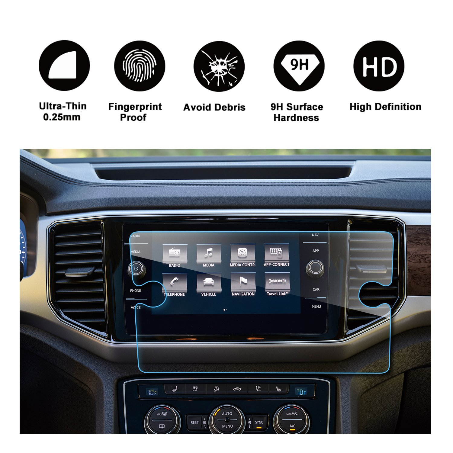 2018 Volkswagen VW Atlas Discover Media Touch Screen Car Display Navigation Screen Protector, RUIYA HD Clear TEMPERED GLASS Car In-Dash Screen Protective Film (8-Inch)