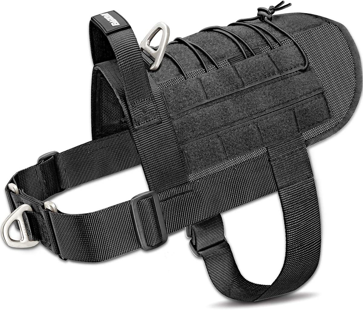 A photo of the BARKBAY Tactical Dog Harness Vest in gray color, with heavy-duty nylon straps and metal buckles.