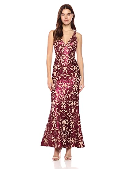 Dress The Population Womens Karen Plunging Lace Gown At Amazon