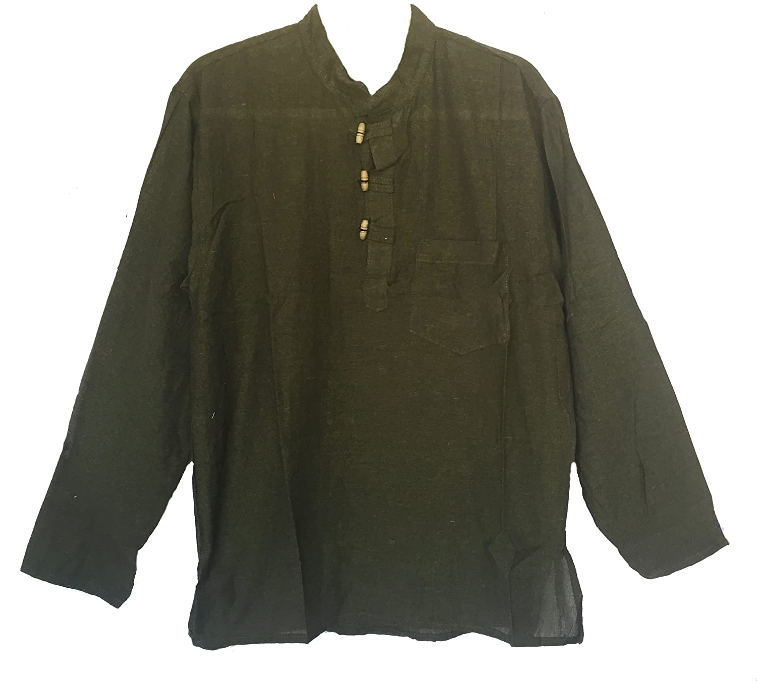 Men's Hand Loomed Green Cotton Banded Collar Tunic