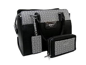 12664fd1f96 New Guess G Logo Purse Crossbody Bag Satchel   Wristlet Set 2 Piece Black  Gray