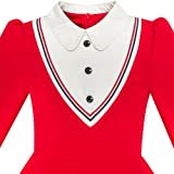 LP63 Girls Dress School White Collar Red Long