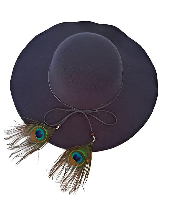 Sombrero Mujer Fieltro Otoño Invierno Estilo Británico Vintage Ala Ancha  con Lazo y Pluma Pavo Real d18c9fbe5d5