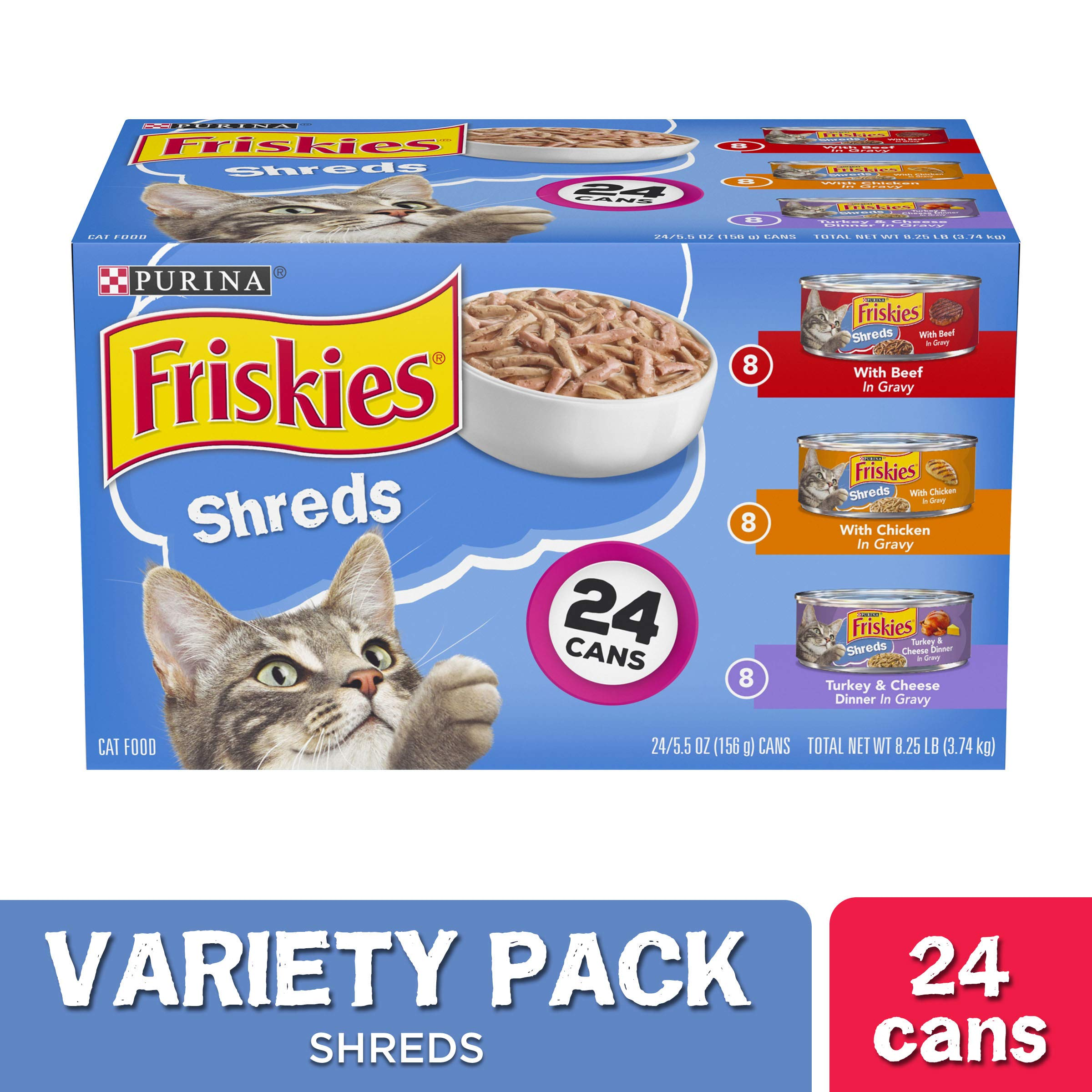 Purina Friskies Gravy Wet Cat Food Variety Pack, Shreds Beef, Chicken and Turkey & Cheese Dinner – (24) 5.5 oz. Cans…