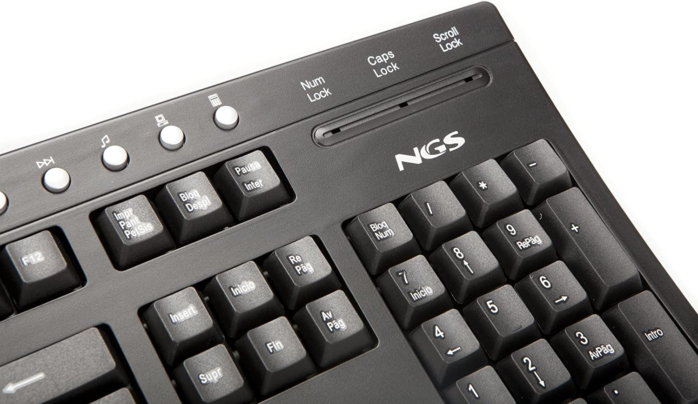 NGS StarOne - Teclado USB con conexión por Cable USB, Color: Negro