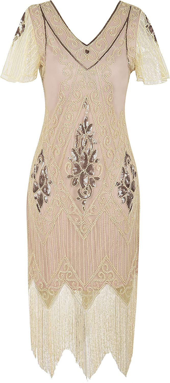 kayamiya Women's Flapper Dresses 1920s Sequins Art Deco Gatsby Cocktail Dress with Sleeve