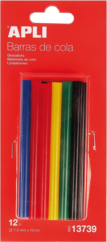APLI 13739- Recambio barras de cola termofusible color Ø 7,5 mm x 10 cm 12 barras