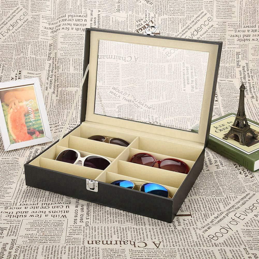 presentazione 8 grids occhiali da sole Showcase occhiali da sole stoccaggio vetrine custodia in pelle PU Porta occhiali