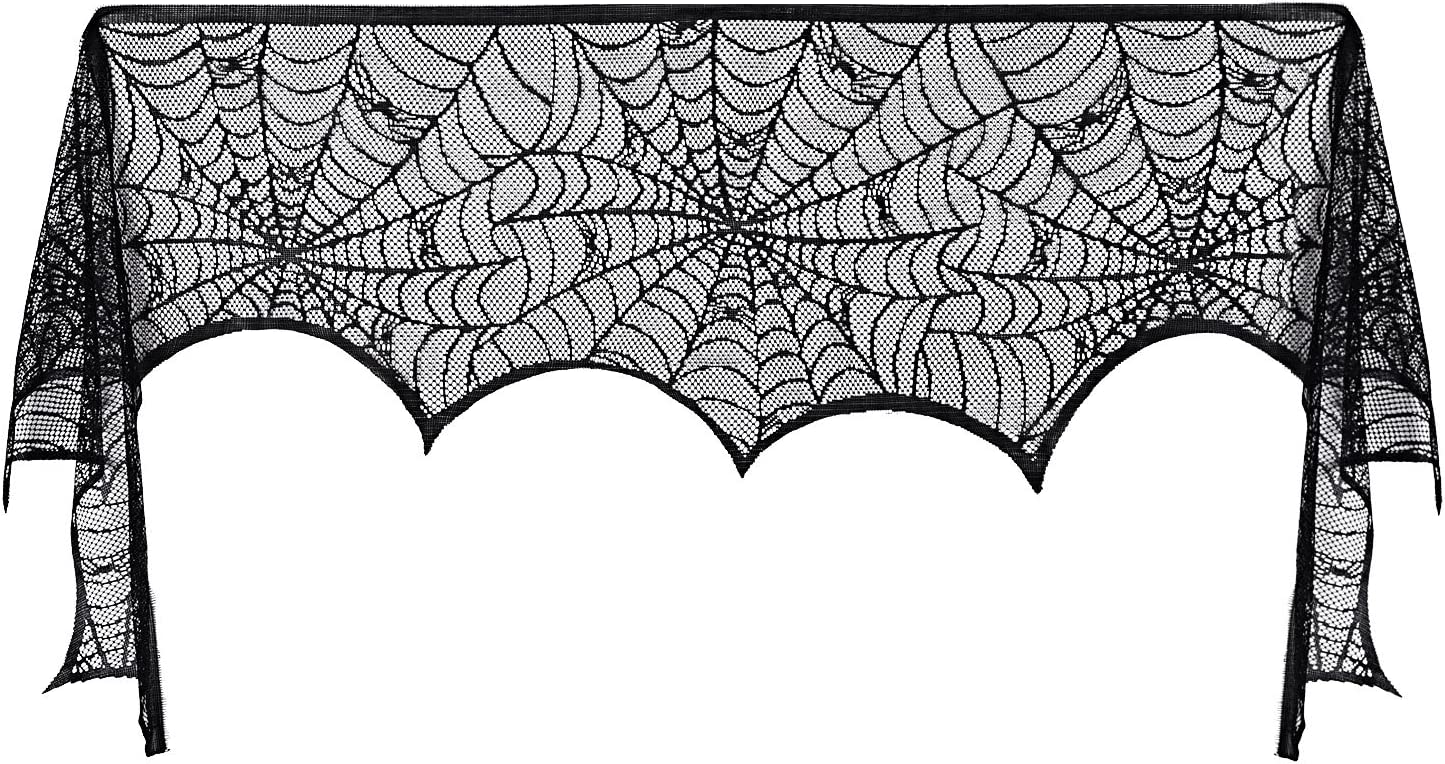 Pangda Halloween Cobweb Fireplace Scarf Mantle Scarf Spider Web Decorations Black Mantle Scarves Cover Lace Runner for Halloween Christmas Party Door Window Decoration, 18 x 96 inch