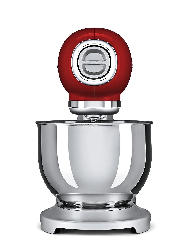 SMEG Batidora amasadora SMF01RDEU, 800 W, 4.8 litros, 0 Decibeles, Acero Inoxidable, 10 Velocidades, Rojo: Amazon.es: Hogar