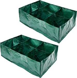2pcs 35 Gallon Raised Garden Planter Fabric Bed with 6 Divided Grids- Rectangle Planting Grow Pot with Metal Drainage Holes PE Flower Planter Bags for Carrot Onion Herb Flower Vegetable Plant Growing