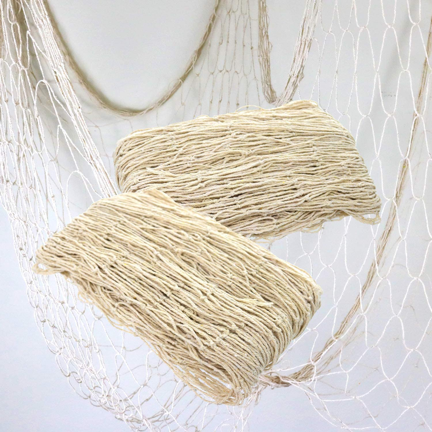 GIFTEXPRESS Pack of 2 Natural Cotton Fish Net Party Decoration Accessory for Hawaiian, Mediterranean, Fishman, Nautical, Mermaid, Pirate, Fishnet and Beach Party Décor, 14 ft x 4 ft Each