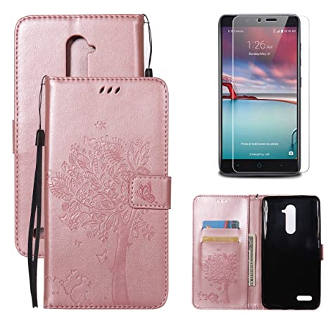 ZTE Zmax Pro/llevar Z981 funda tipo cartera para niñas con protector de pantalla,
