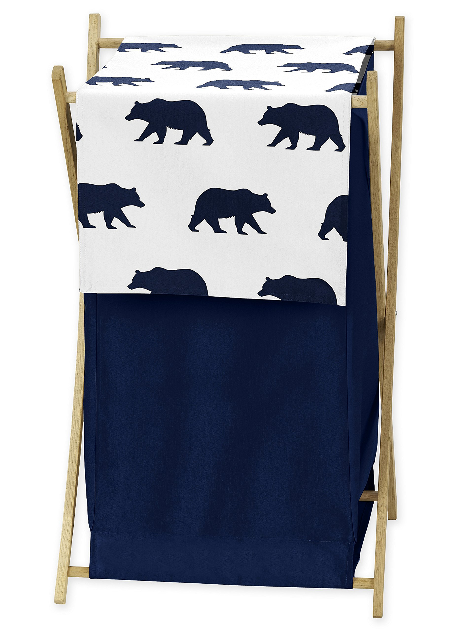 Sweet Jojo Designs Navy Blue and White Baby Kid Clothes Laundry Hamper for Big Bear Collection by