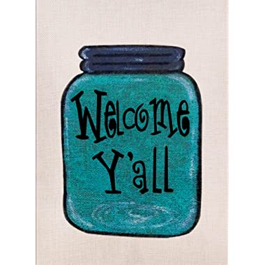Dyrenson Home Decorative Outdoor Double Sided Mason Jar Garden Flag Welcome Yall Quote, House Yard Flag for Spring, Funny Garden Yard Decorations, Seasonal Outdoor Flag 12.5 x 18 Spring Summer Gift