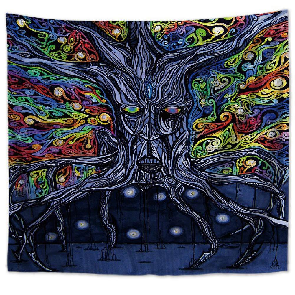 10,S ZYBC Arbre De La Vie Color/é Tapisserie Tenture Murale Psych/éd/élique for/êt Tapisserie Aquarelle Arbre De Vie Couvre-lit Tapisserie