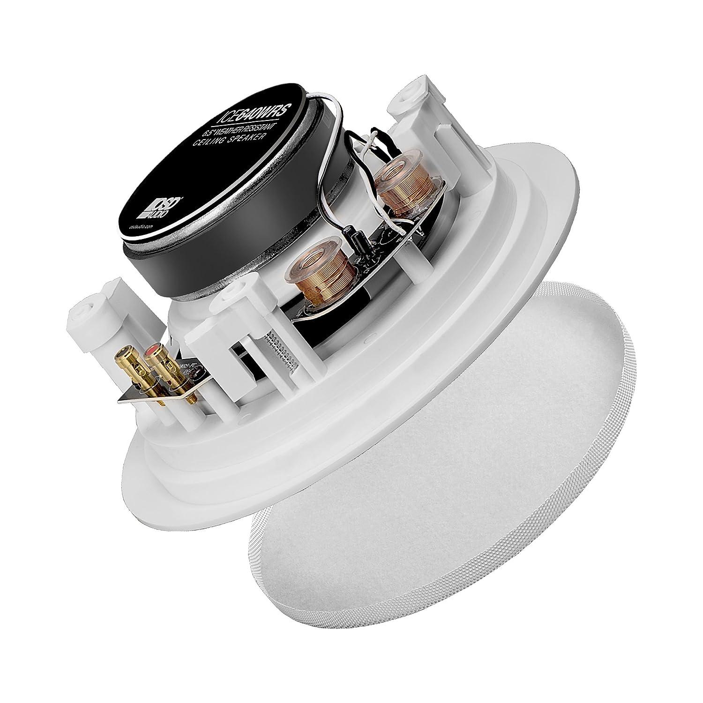 """ICE600TTWRS Dual Tweeter Speaker OSD Weatherproof 6.5/"""" In-Ceiling Single Stereo"""