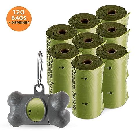 Simply Natural Pack de 120 Bolsas para Excrementos de Perro con Dispensador Bolsas para excrementos de Perro 100% Extra Gruesas y Biodegradables con ...