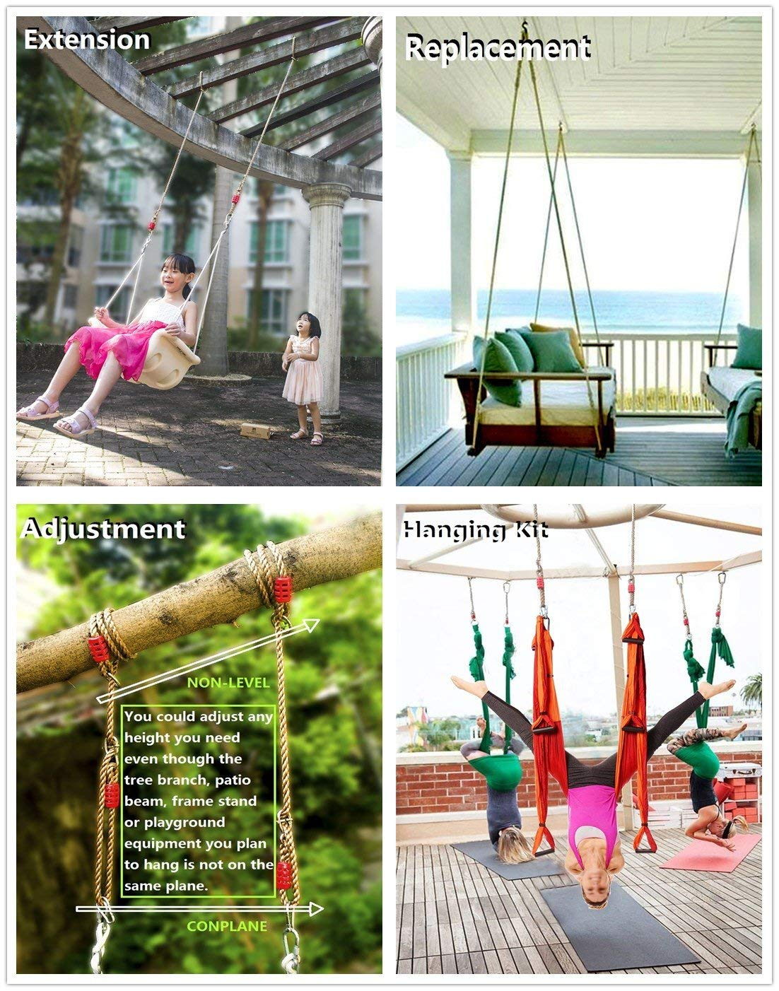 Artigifts Hammock Chair Tree Swing Nylon Rope Hanging Kit For Adjustable Extendable Replaceable 6ft 600lb Capacity 1 Carabiner Included 1 Pack Industrial Scientific Cjp Org In