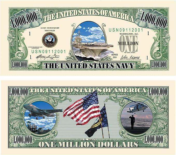 US Army Million Dollar Bill Novelty Money FREE Shipping