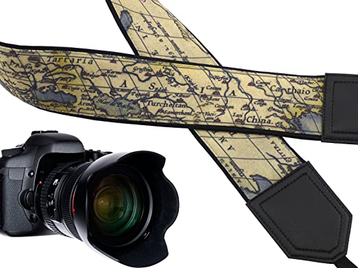 Correa de cámara con diseño mapamundi de Vintage Correa para ...