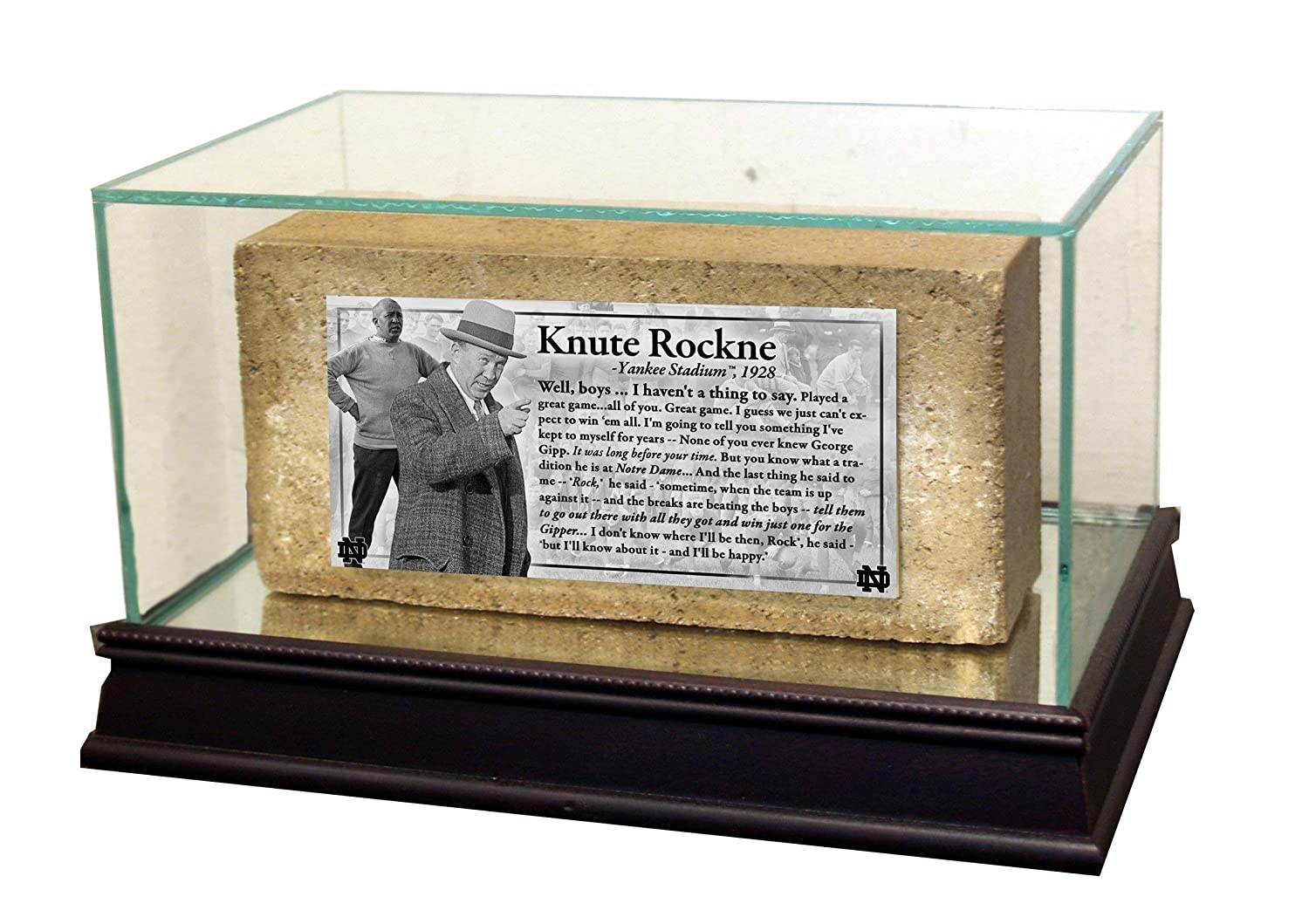 Notre Dame Brick with'Knute Rockne Speech' Nameplate Steiner Sports