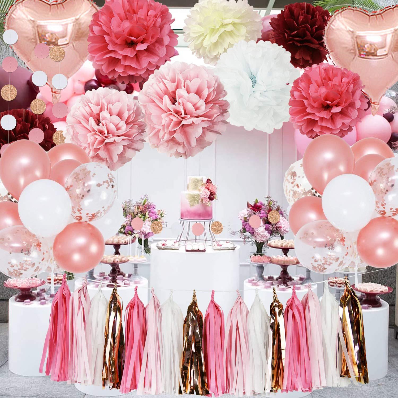 Rose Gold Pink Bridal Shower Decorations Dust Pink/Burgundy Tissue Paper Flower for Rose Gold Party Decor, Bachelorette Backdrop, Engagement Party Decorations/Baby Shower/Girl Birthday Party