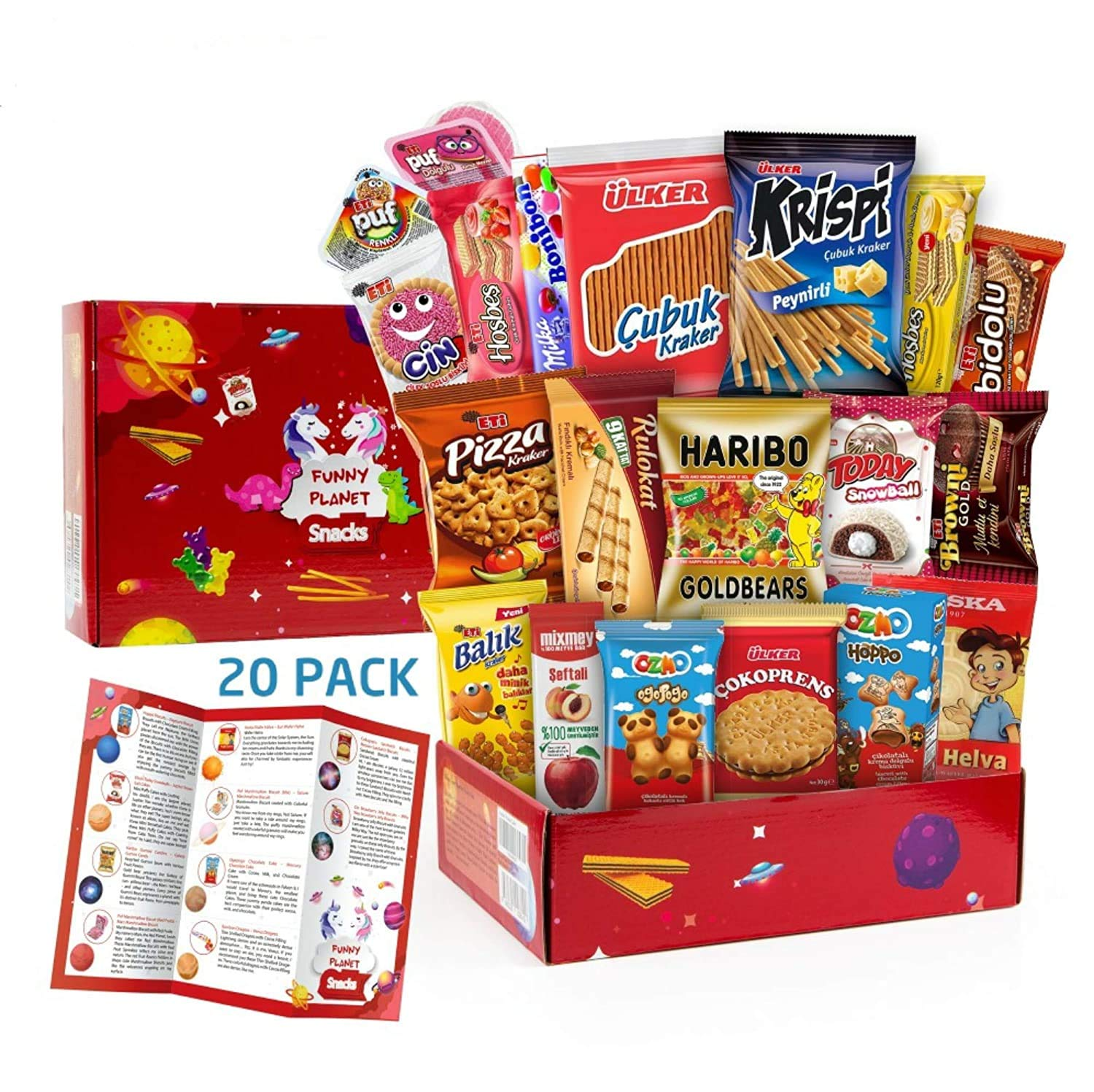 Carian's International Snack Box - Variety Assortment of Turkish Gourmet Treats, Crackers, Cookies, 20Ct Care Pack
