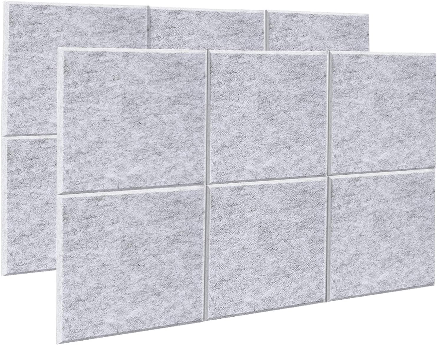 AGPtEK Panel Acústico, 12 Paneles de Absorción Acústica 30 * 30 * 1 cm Paneles de Aislamiento Acústico de bordes biselados, de Alta Densidad, excelentes para el hogar y oficinas, gris plateado
