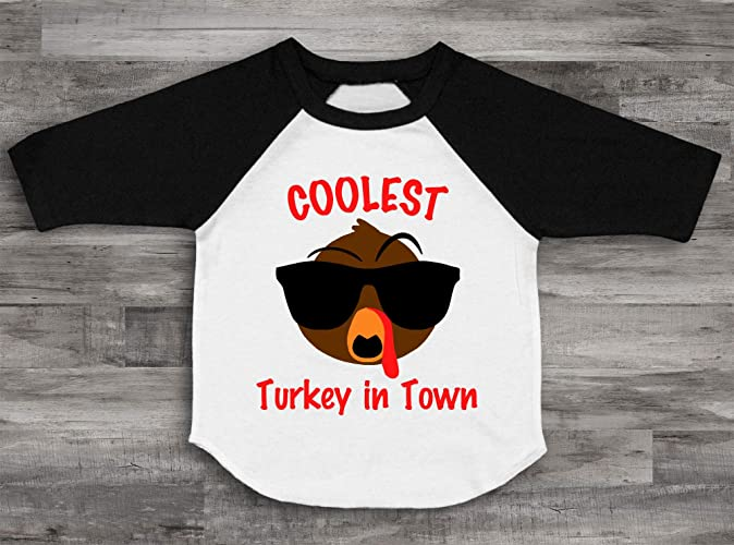 caef7302 Amazon.com: Coolest Turkey In Town Raglan Personalized Thanksgiving Raglan Customized  Holiday Tee Turkey Shirt Unisex Holiday Outfit Thanksgiving Top: ...