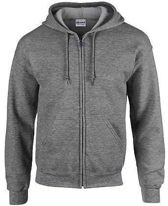 Gildan Black Zip Up Hoodie Heavy Blend Blank Plain Hooded Sweatshirt Men