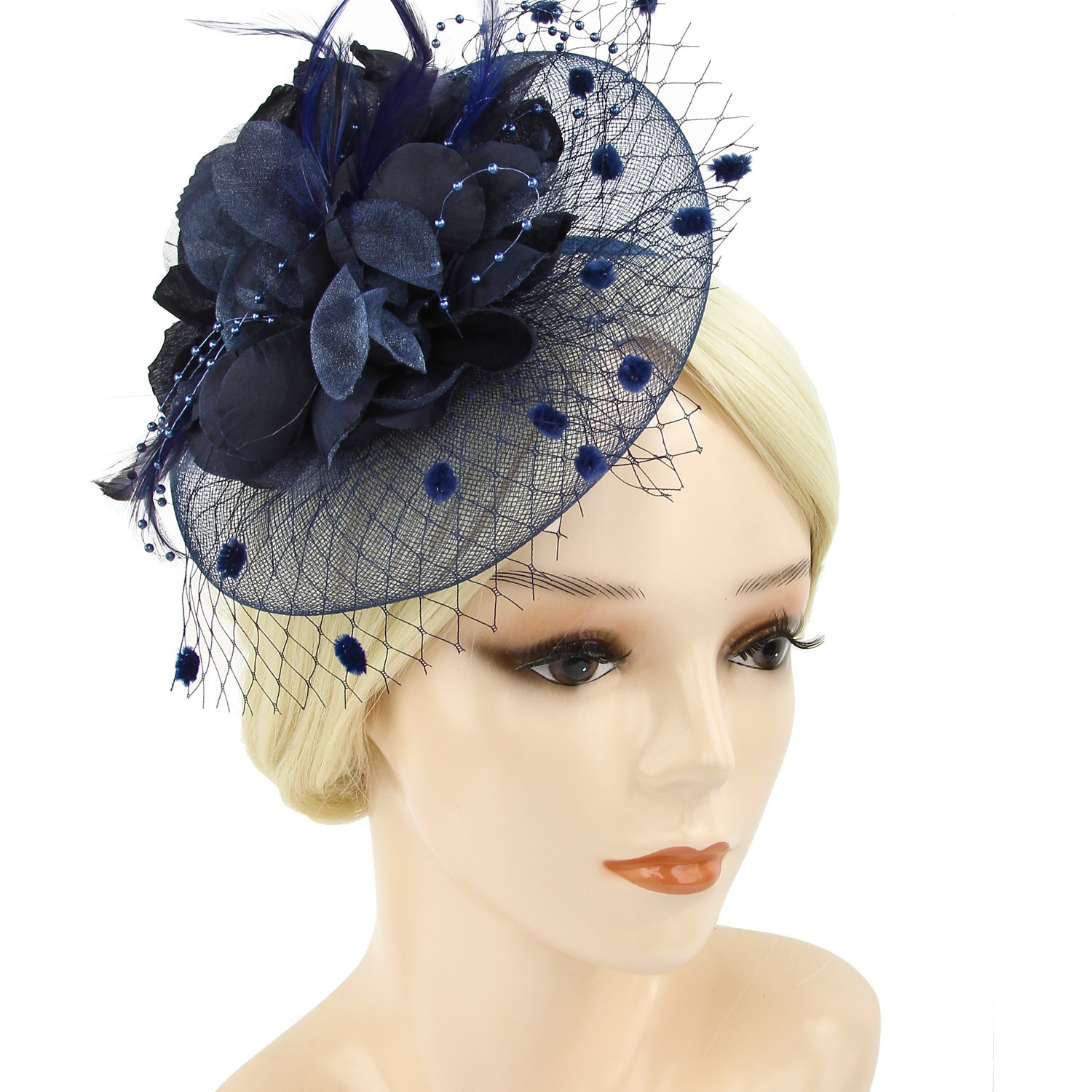 Acecharming Fascinators for Women, Feather Sinamay Fascinators with Headbands Tea Party Pillbox Hat Flower Derby Hats(Navy Blue-04)