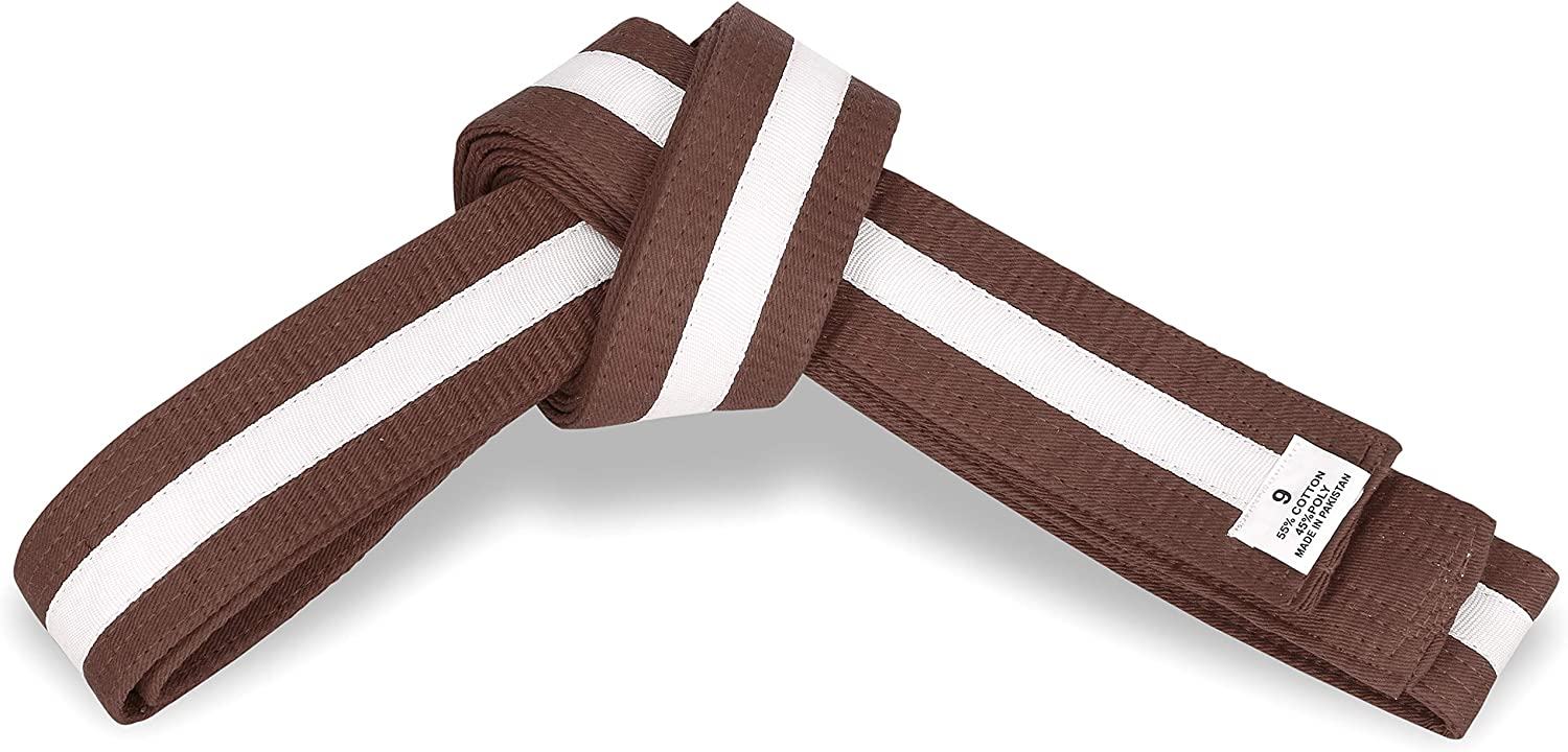 Martial Arts 1.75 Wide Karate//Taekwondo Double Wrap Striped Color Belts Brown with White Stripe, 1