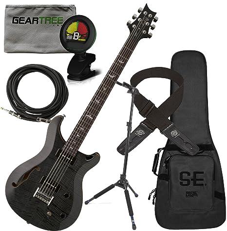 PRS SE 277 Semi hueca Soapbar guitarra eléctrica barítono gris negro w/funda, gamuza