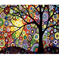 DIY 5D Diamond Painting by Number Kits, Full Drill Crystal Rhinestone Embroidery Pictures Arts Craft for Home Wall Decor Gift, Colorful Tree 12x16inch