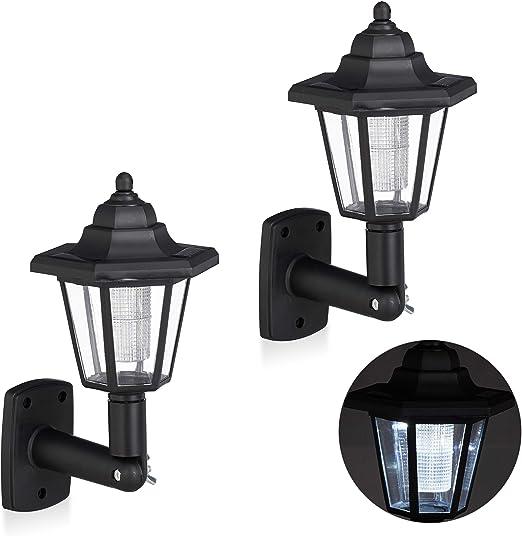 Relaxdays, Negro Set de Dos farolas solares LED, Lámparas de Exterior, Ahorra energía, Impermeable: Amazon.es: Jardín