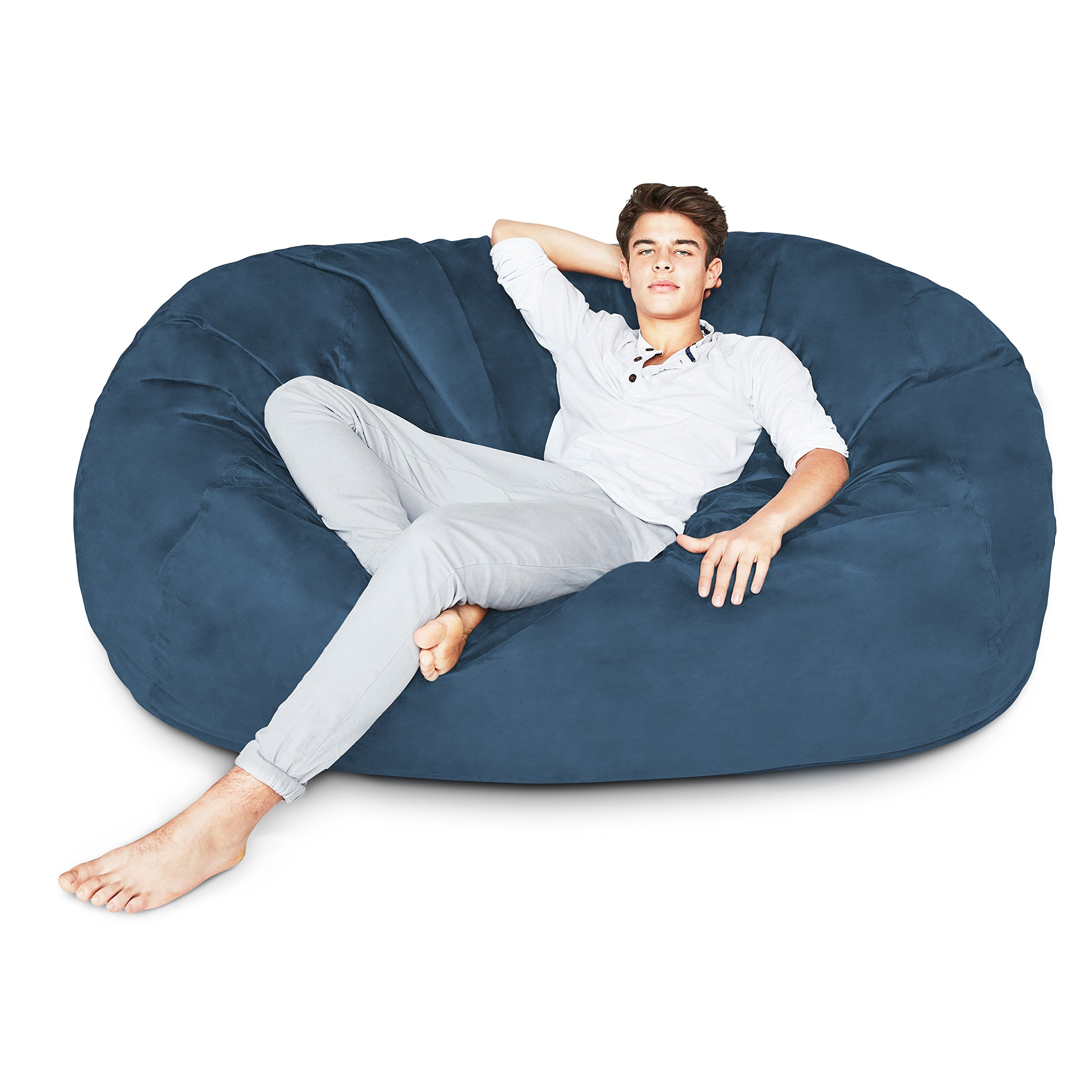 Lumaland Luxury 6-Foot Bean Bag Chair with Microsuede Cover Navy Blue, Machine Washable Big Size Sofa and Giant Lounger Furniture for Kids, Teens and Adults