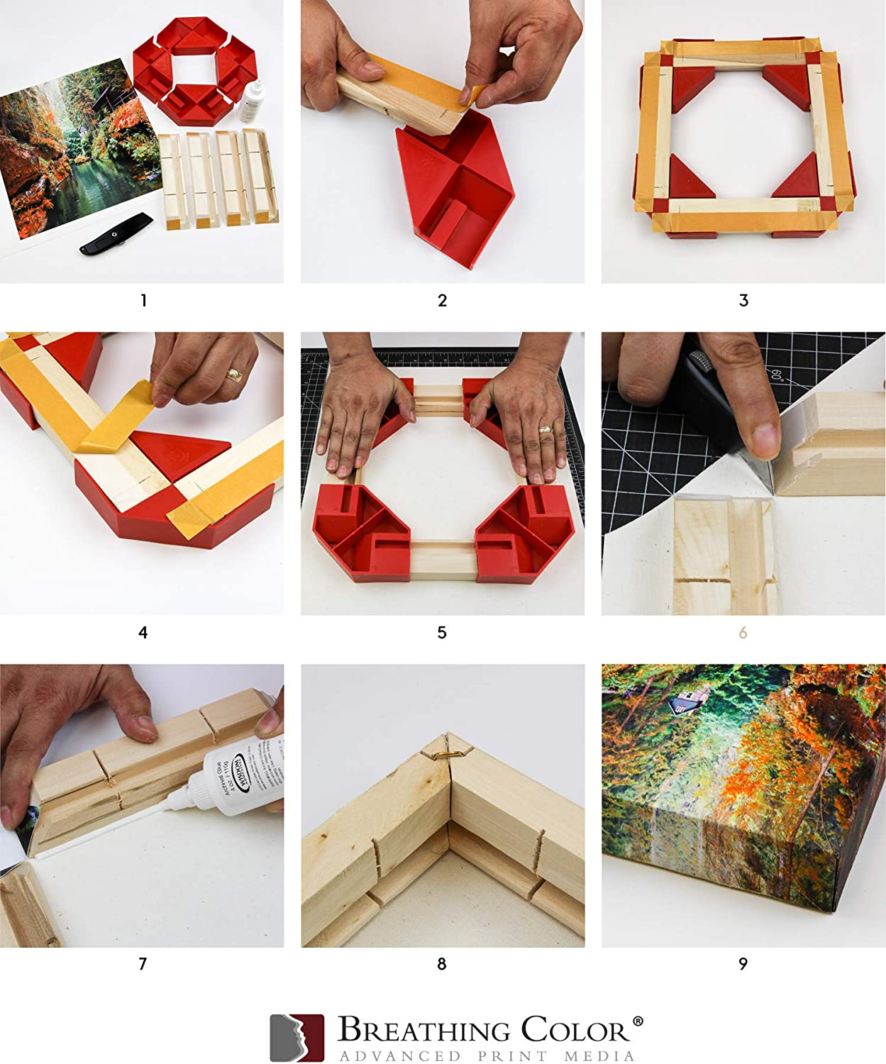 6pk DIY Gallery Wrap System with Easy Assembly and Uncomplicated Canvas Stretching Setup Create Artwork in Minutes That Rivals Professional Gallery Wraps Kiln-Dried EasyWrappe Pro 1.75-8